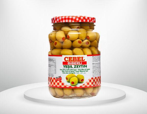 Gr�ne Oliven mit Paprika